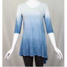 Blue Fade Dip-Dyed 3/4 Sleeve Top