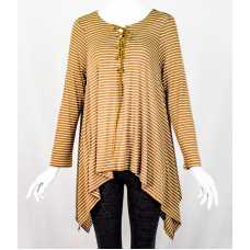 Lace-Up Gold Stripe Top