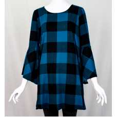 Blue Checkered Bell Sleeve Top