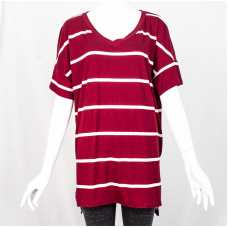 Burgundy & Ivory Relaxed Fit V-Neck Tee
