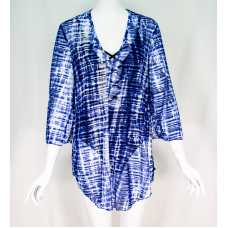 Blue-White Sheer Cover-Up